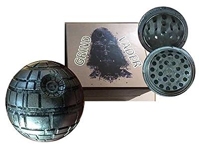 Grind Vader StarGrinder Death Star Weed Grinder Herb Grinder for Spice Herb Tobacoo Kush 1.9 inch 3 piece Pollen Catcher Star Wars Fan Gift Fine Grind Spice Mill