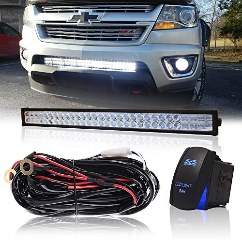 "DOT 32"" Inch 180W Led Light Bar Combo Grill Windshield Bumper Light Bar + 1x Rocker Switch + 1x Wiring Harness for Trailer Boat SUV ATV Truck Jeep Wrangler Dodge Chevy Ford F150 F250 Tractor Toyota"