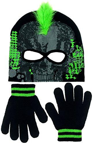 [Polar Wear Boys Monster Mohawk Skull Face Eye Holes Knit Beanie & Gloves Set (Electric Green)] (Infant Racing Halloween Costume)