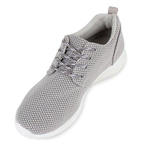 Stiefelparadies Damen Herren Sneaker Sportschuhe Schwarz Turnschuhe Runners mit Blumen Print in Mehreren Farben Flandell Grau Brooklyn