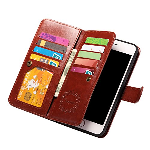 iPhone 7 Plus Case, Joopapa iPhone 7 Plus Wallet case, Pu Leather Magnet Stand Wallet Credit Card Holder Flip Case Cover Built-in 9 Card Slots Case For Apple iPhone 7 Plus (Brown)