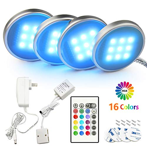 BASON RGB Under Cabinet Lighting, Remote Control LED Puck Lights, Wired Multi Color Changing, Dimmable, Adaptor Powered…