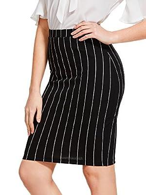 WDIRA Women's Summer Mid Waist Vertical Striped Pencil Workwear Sheath Skirt