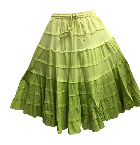 - Yoga Trendz Missy Plus Bohemian Gauze Cotton Tiered Crinkled Broomstick Skirt Ombre Mid Length (No4 Green)