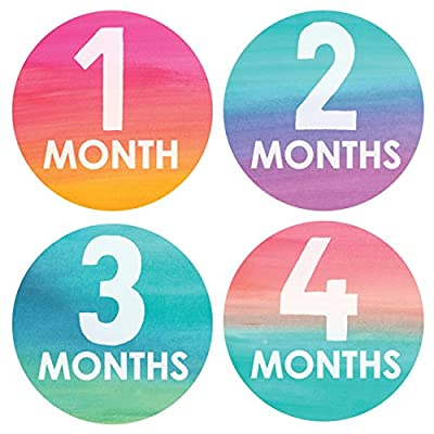 Lucy Darling Baby Monthly Stickers - Gender Neutral - Watercolor Monthly - Months 1-12 : Baby