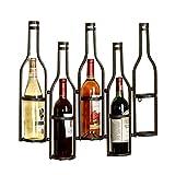 LXLA- Wall Mounted Iron 5 Bottles Wine Rack Display Stand Hanging Personality Wine Holder Storage Shelf Retro Decorations - Bronze