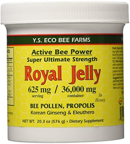 YS Eco Bee Farms Active Bee Power - Royal Jelly, Bee Pollen, Propolis, Ginseng in Honey - 36,000 mg - 20.3 oz (Pack of 5)