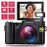 AMKOV WiFi Digital Camera Vlogging Camera for Kids & Adults 24MP 2.7K 1080P Camcorder with 4X Optical Zoom, 2 Rechargeable Batteries, 3 Inch 180°Flip Screen Retractable Flashlight Easy Operation