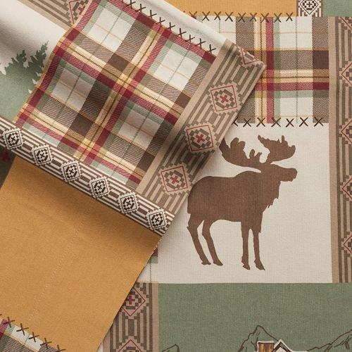 Cuddl Duds Patchwork Lodge Heavyweight Flannel Sheet Set Full (Farm Hunters Tree Christmas)