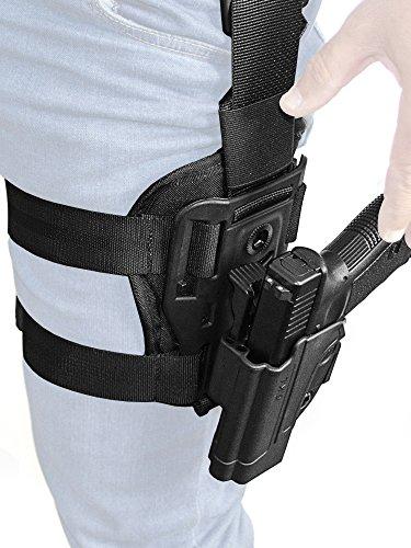 Orpaz Glock 19 Holster Fits Also Glock 17 Glock 22 Glock 26 Glock 34 Left Handed Drop-Leg Holster