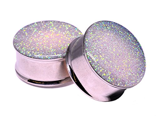 Mystic Metals Body Jewelry Double Flare Pearl Glitter Plugs - Sold As a Pair (1/2
