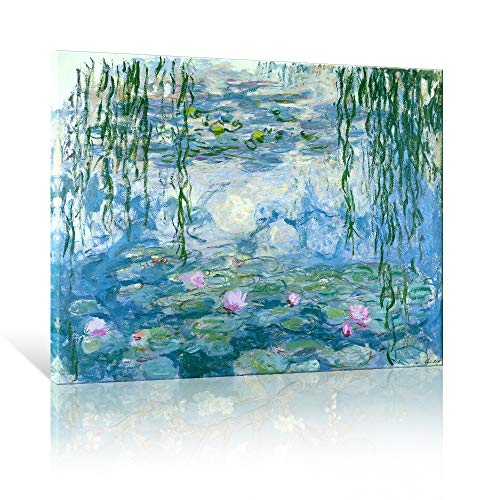 JAPO ART Water Lilies Floral Canvas Prints Wall Art by Claude Monet Famous Flowers Reproduction for Kitchen Bedroom Bathroom Home Decor Modern Classic Landscape Pictures Giclee Artwork 16