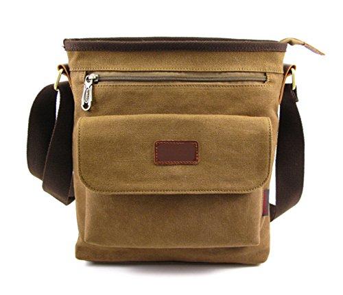 Männer Und Frauen Jahrgang Leinwand Messenger Aktentasche Schulter Tote Side Outdoor Tasche,Brown-26cm*9cm*30cm