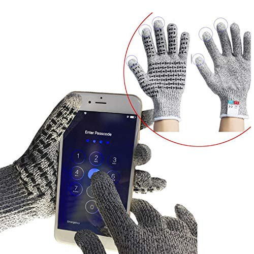 Anti Scalding Glove Unisex Touchscreen Gloves-Cut Resistant Gloves For Cooking Fishing Gardening, Carpentry, Work Protection,Medium BBQ (Color : Gray, Size : M) (Bamboo Tails Charcoal Silver)