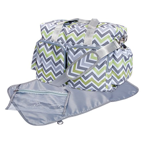 Trend Lab Chevron Deluxe Duffle Diaper Bag, Green/Gray/White ()