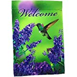 """Lantern Hill Premium Garden Flag Yard Decoration; 12"""" x 18""""; Double Sided Reads Correctly Both Sides (Welcome Hummingbird with Purple Flowers)"""