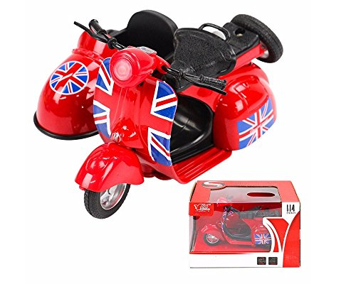 MING YING Red sidecar motorcycle model, Moving Vehicle Toys Pull Back and Push with Lights and Sounds, Vintage sidecar motorcycle model, three-wheeled motorcycle ()