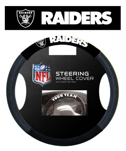 Fremont Die NFL Oakland Raiders Massage Grip Steering Wheel Cover, Black, One Size