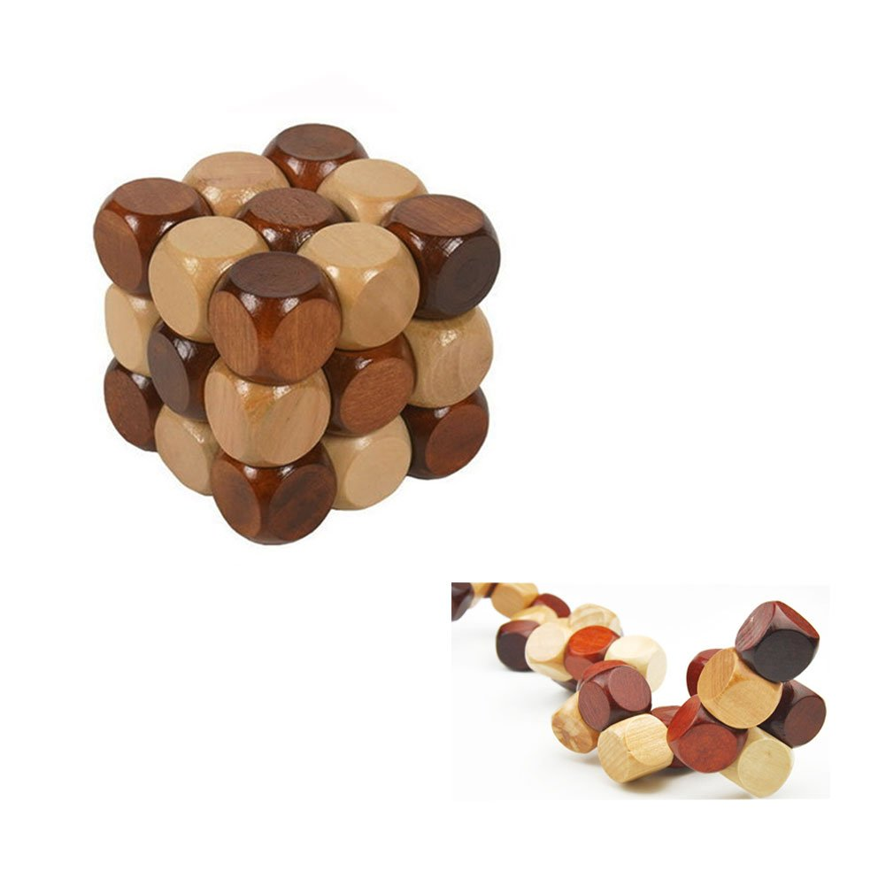 SFTRANS Puzzle Toys, Wood Brain Teaser with Kongming Lock 3D Snake Cube Puzzles, Best Gift for Child/Adults, Birthdays, Valentine's Day, Thanksgiving, (2.9 x 2.9 x 2.9 inches) Valentine's Day