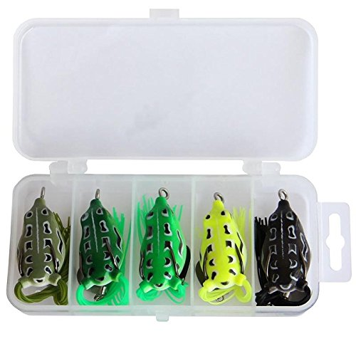 Lot 5pcs Topwater Lures Hollow Frog Fishing Lure Soft Baits with Tackle Box for Bass Snakehead Saltwater Freshwater (0.25 Ounce Cranks)