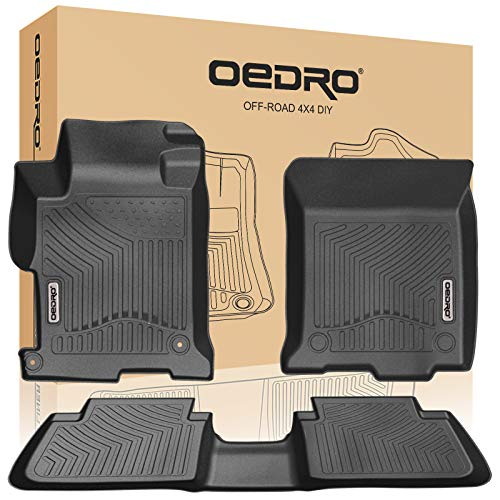 oEdRo Floor Mats Compatible for 2013-2017 Honda Accord Sedans, Black TPE All Weather Guard, 1st and 2nd Row Liners Set