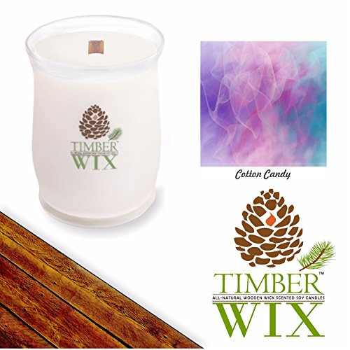 Timber Wix COTTON CANDY Scented Wood Wick Soy Candle (14 oz.) New Year Sale 20% OFF! 3 or More Entire - For Wooden Sale Cart Candy