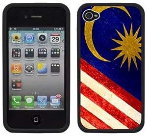 Malaysia Flag Handmade iPhone 4 4S Black Hard Plastic Case