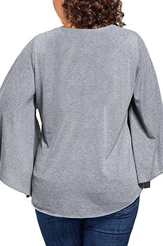 Femmes Viottis De Taille Plus Quadrillent Manches Évasés V Cou Blouse Tops Gris T-shirt