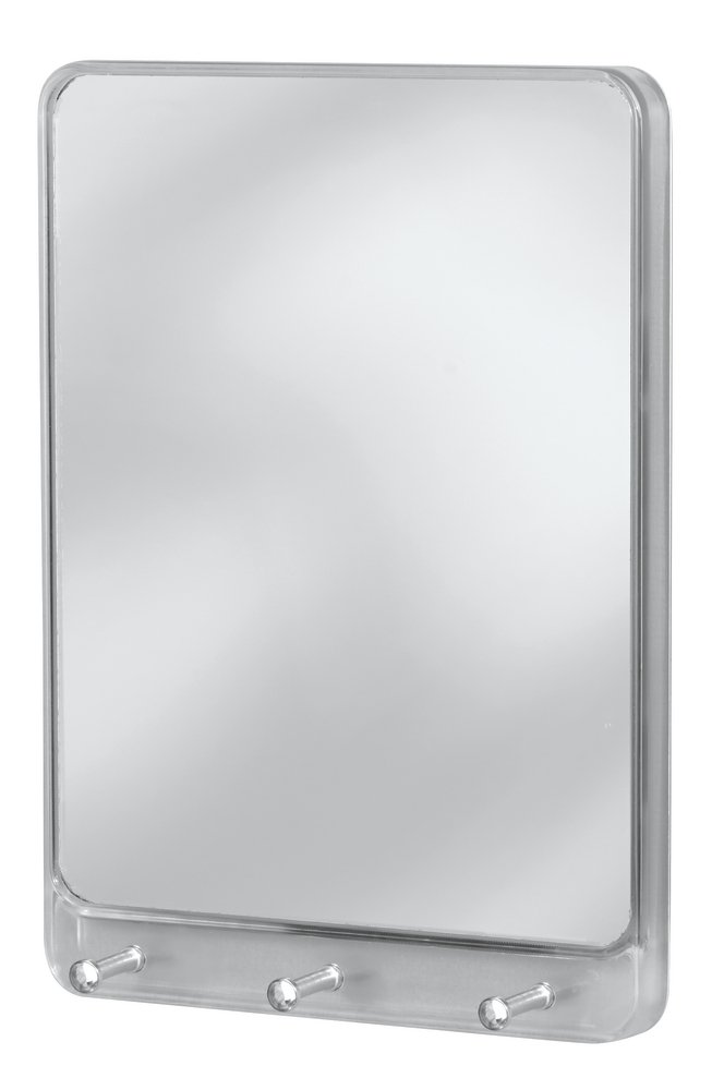 InterDesign Linus Wall Mount Mirror with Key Rack – Hallway Organizer with 3 Hanging Hooks, Clear/Chrome