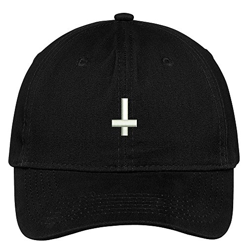Cross Black Cap - Trendy Apparel Shop Inverted Cross Embroidered Low Profile Soft Cotton Brushed Baseball Cap - Black