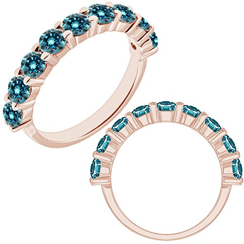 2.75 Carat Blue Diamond Half Eternity Solitaire Promise Anniversary Band Ring 14K (2.75 Ct Heart Diamond)
