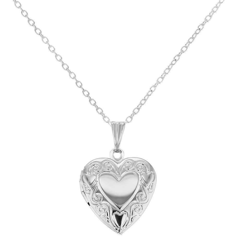 In Season Jewelry Silver Tone Picture Photo Small Love Heart Locket Necklace Kids Girls Pendant 16