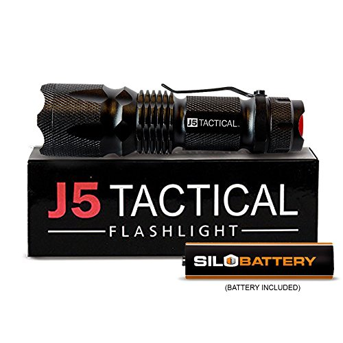 J5 Tactical V1-PRO Flashlight - Genuine 300 Lumen Ultra Bright, LED 3 Mode Flashlight with 1.5V AA SILO Battery Installed