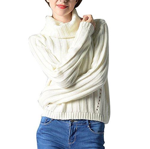 VOGABA Suéter Jersey de Manga Larga Alta Cuello Pullover Para Mujer Invierno Calentar Turtleneck Tops Suelto Sweaters blanco