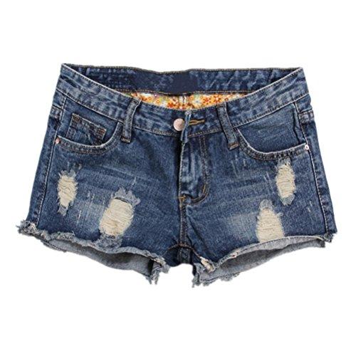 Oudan Pantaloncini donna vintage mini jeans larghi estate chic di grandi dimensioni Blu
