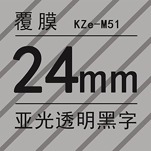 Ocamo PT-P700 - Cinta adhesiva para impresora de matrícula, 24 mm, para Brother PT Series, 24mm Matt Transparent Black