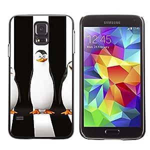 KLONGSHOP // Cubierta de piel con cierre a presión Shell trasero duro de goma Protección Caso - Sly pingüino - Samsung Galaxy S5 //