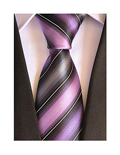 (Secdtie Men's Classic Stripe Jacquard Woven Silk Tie Formal Party Suit Necktie (One Size, Purple Grey))