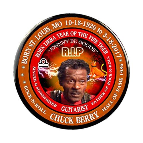 Chuck Berry RIP Rock-N-Roll Memorial Button Born Libra 10/18/1926 Year Of Fire Tiger (2.25