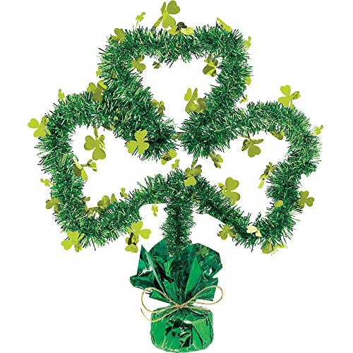Amscan St. Patrick's Day Shamrock Shaped Green Tinsel Centerpiece | Party Decoration