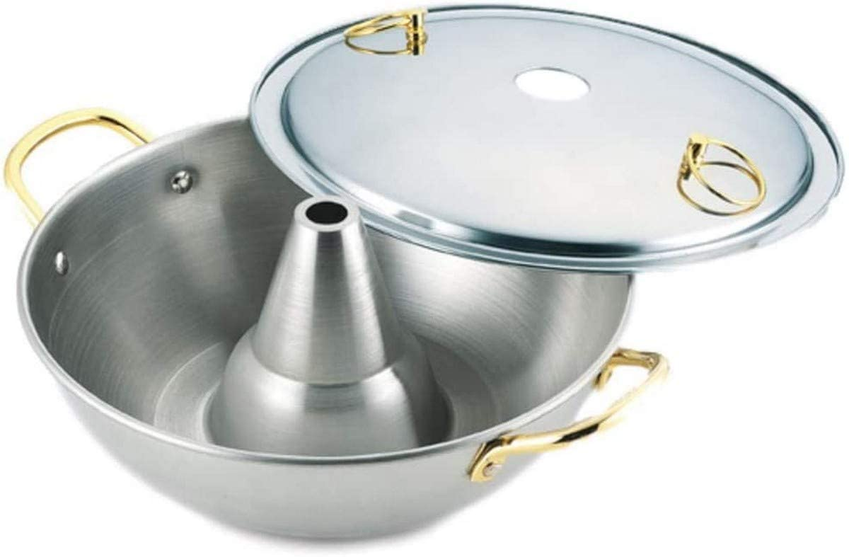 Shabu Shabu Hot Pot Pan Japanese Traditional Stainless Steel Hotpot Cooking Pot with Chimney (26 cm)