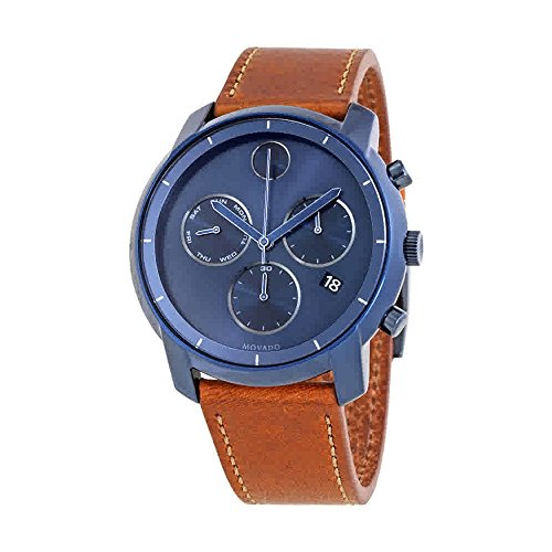 Movado Bold Ink Blue Sunray Dial Mens Chronograph Watch 3600476
