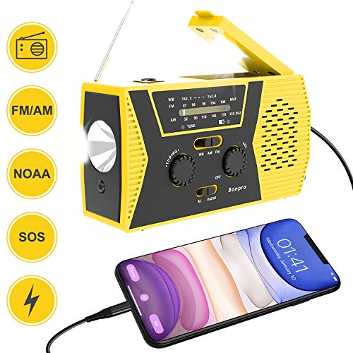 Emergency Radio 2020 New Version Bonpro Weather Radio with Solar and Crank Charger with Flashlight, Reading Lamp and 2000mAh Power Bank NOAA Weather Radio