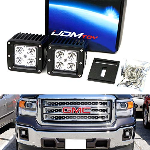 iJDMTOY LED Pod Light Fog Lamp Kit For 2014-15 GMC Sierra 1500, 15-18 2500 3500 HD, Includes (2) 20W High Power CREE LED Cubes, Foglight Location Mounting Brackets & Wiring/Adapter Harnesses