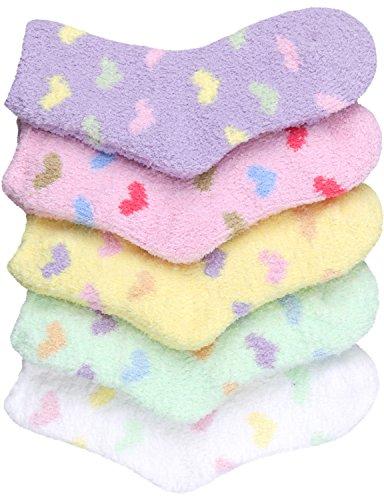 HASLRA Heart Premium Soft Warm Microfiber Fuzzy Socks 5 Pairs (MIX2)