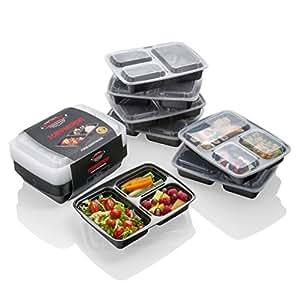 [10 pack] Envases para Comida Preparada – La MEJOR Solución para Almacenamiento de Comida, DEVOLUCIÓN GARANTIZADA- Para Preparación de Comidas Control de Porciones + Apropiado para Microondas