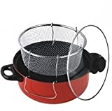 Gourmet Non Stick Deep Fryer with Frying Basket and Glass Cover Steamer Cooker Frier