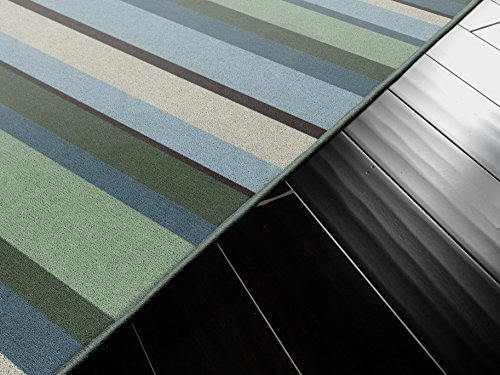 Brumlow Mills Blue And Green Muted Traditional Striped Area Rug, 5 x 8