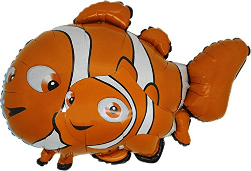 37 Inch Clown Fish Shaped Foil Balloon]()