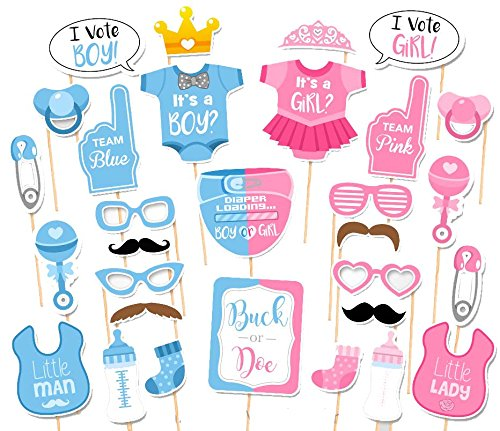 30PCS Baby Shower Gender Reveal Party Boy or Girl Photo Booth Props by 7-gost